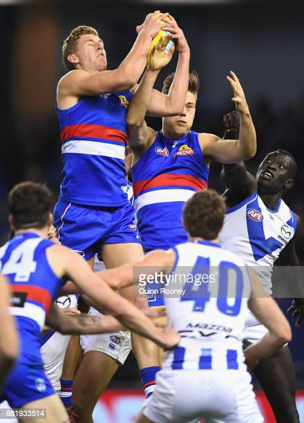 Aaron Naughton of the Bulldogs marks during the round 14 AFL match between the Western Bulldogs and the North Melbourne Kangaroos at Etihad Stadium...