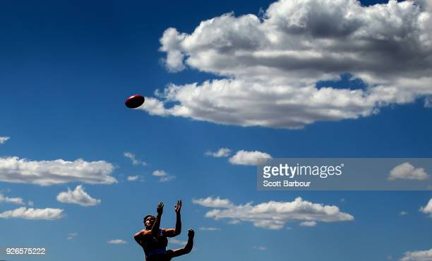 Aaron Naughton of the Bulldogs marks the ball during the AFL JLT Community Series match between the Western Bulldogs and the Hawthorn Hawks at Mars...