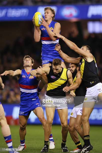 Aaron Naughton of the Bulldogs marks the ball over Noah Balta of the Tigers during the round seven AFL match between the Western Bulldogs and the...