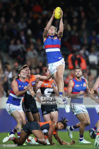 Aaron Naughton of the Bulldogs takes a mark during the round six AFL match between the Greater Western Sydney Giants and the Western Bulldogs at...