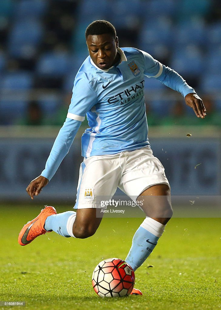 Aaron Nemane of Manchester City during the FA Youth Cup Semi Final, First Leg match between Manchester City and Arsenal at the City Football Academy on March 18, 2016 in Manchester, England.