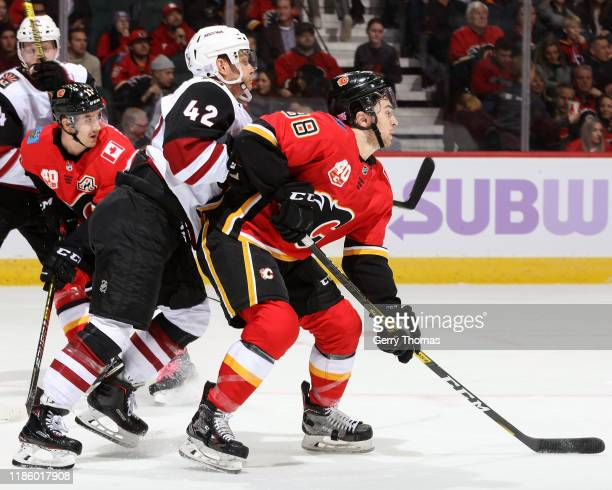 Aaron Ness of the Arizona Coyotes and Andrew Mangiapane of the Calgary Flames compete for position during an NHL game on November 5, 2019 at the...