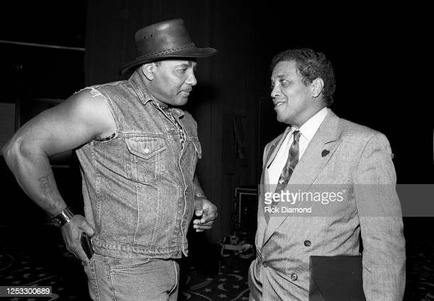 Aaron Neville and Atlanta Police Chief Eldrin Bell attend Aaron Neville's album release event hosted by A&M Records at Dave & Buster's in Atlanta...