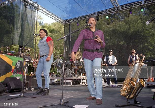 Aaron Neville and Charles Neville of the Neville Brothers perform during the Santa Cruz Blues Festival at Aptos Village Park on May 23, 1998 in...