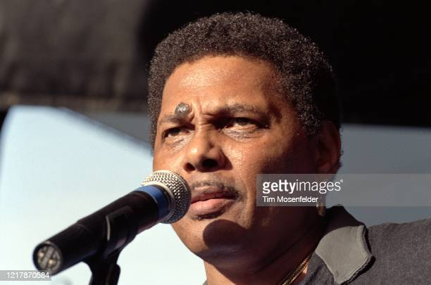 Aaron Neville of the Neville Brothers performs during New Orleans by the Bay at Shoreline Amphitheatre on May 19, 1991 in Mountain View, California.