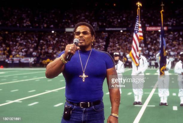 Aaron Neville performs the National Anthem before the New York Jets v New Orleans Saints game at the Louisiana Superdome on November 4, 2001 in New...
