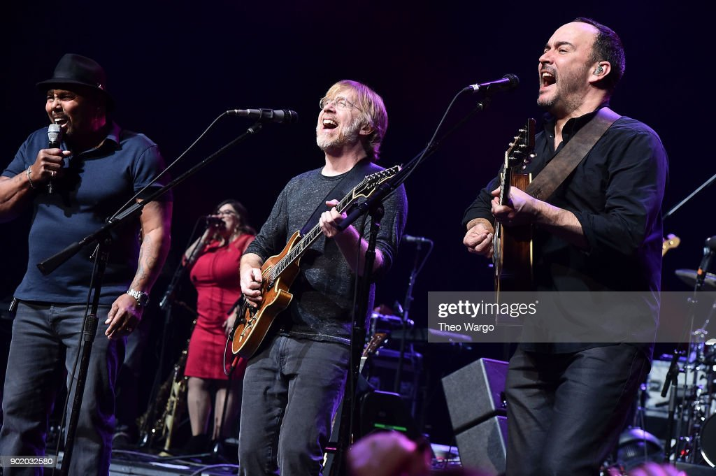 Aaron Neville, Trey Anastasio and Dave Matthews perform during 'A Concert For Island Relief' at Radio City Music Hall on January 6, 2018 in New York City.