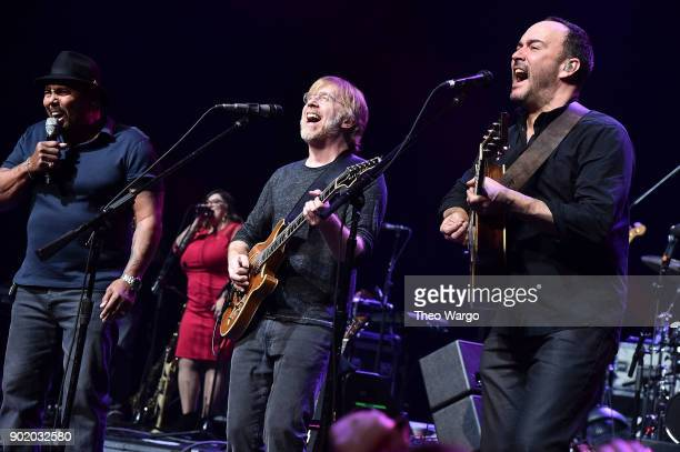 Aaron Neville Trey Anastasio and Dave Matthews perform during 'A Concert For Island Relief' at Radio City Music Hall on January 6 2018 in New York...