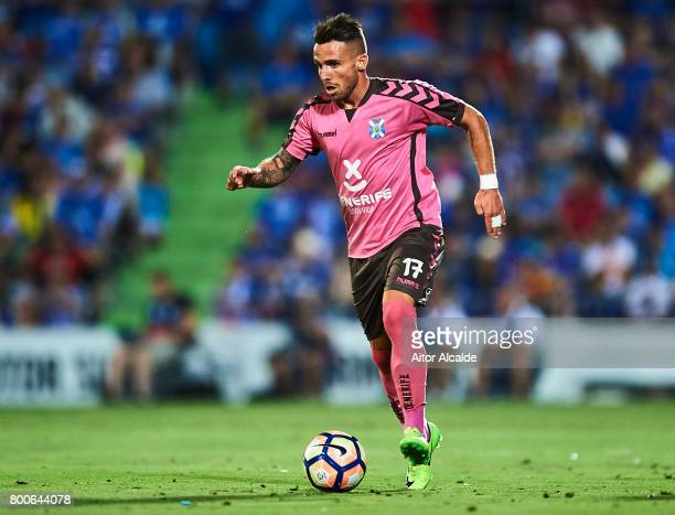 Aaron Niguez of CD Tenerife in action during La Liga 2 play off round between Getafe and CD Tenerife at Coliseum Alfonso Perez Stadium on June 24...
