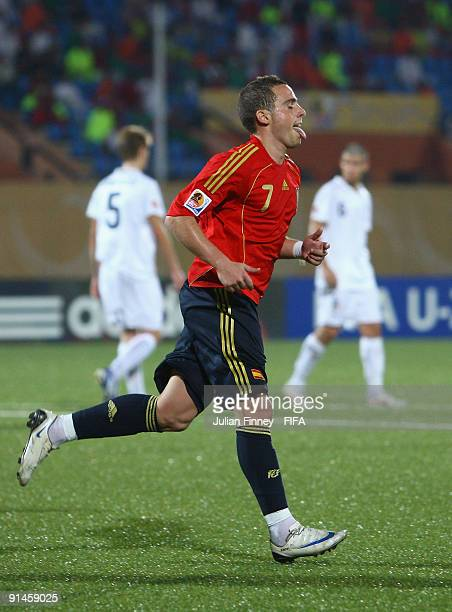 Aaron Niguez of Spain celebrates after scoring his team's first goal from the penalty spot during the FIFA U20 World Cup last 16 match between Spain...