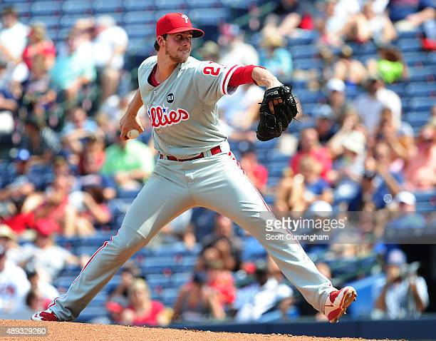 Aaron Nola of the Philadelphia Philiies throws a third inning pitch against the Atlanta Braves at Turner Field on September 20 2015 in Atlanta Georgia