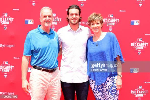 Aaron Nola of the Philadelphia Phillies and the National League and guests attend the 89th MLB AllStar Game presented by MasterCard red carpet at...