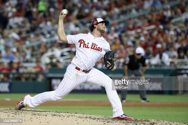 Aaron Nola of the Philadelphia Phillies and the National League pitches in the fifth inning against the American League during the 89th MLB AllStar...