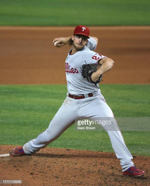 Aaron Nola of the Philadelphia Phillies delivers a pitch against the Miami Marlins at Marlins Park on September 11, 2020 in Miami, Florida.