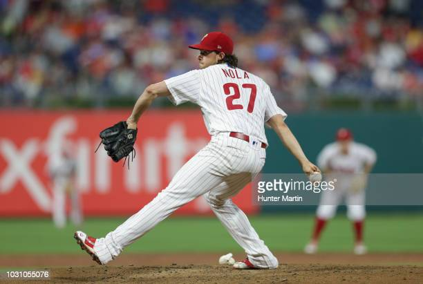 Aaron Nola of the Philadelphia Phillies delivers a pitch during a game against the Washington Nationals at Citizens Bank Park on August 28 2018 in...