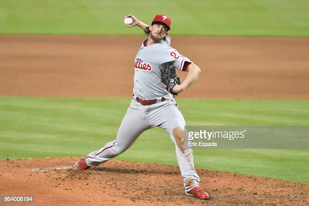 Aaron Nola of the Philadelphia Phillies delivers a pitch during the seventh inning against the Miami Marlins at Marlins Park on May 2 2018 in Miami...