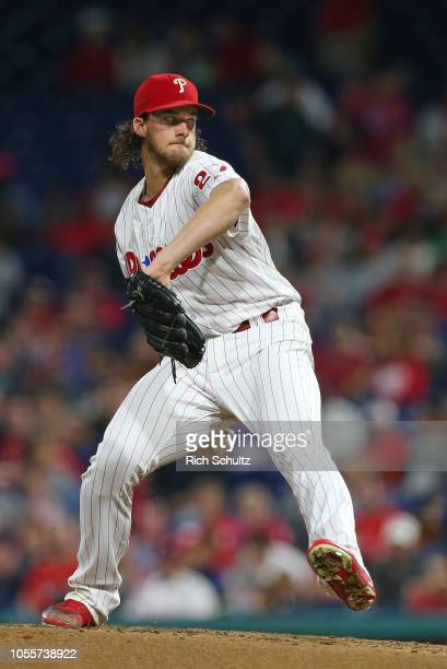 Aaron Nola of the Philadelphia Phillies in action against the Atlanta Braves during a game at Citizens Bank Park on September 29 2018 in Philadelphia...