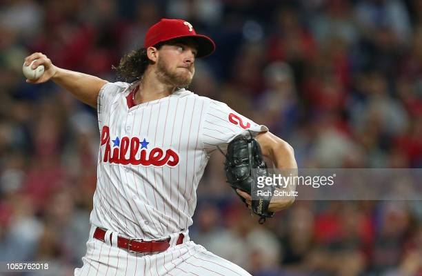 Aaron Nola of the Philadelphia Phillies in action against the Atlanta Braves during a game at Citizens Bank Park on September 29, 2018 in...