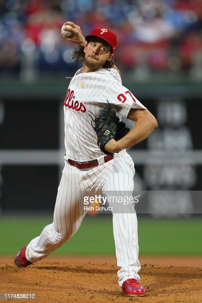 Aaron Nola of the Philadelphia Phillies in action against the Boston Red Sox during a game at Citizens Bank Park on September 14, 2019 in...