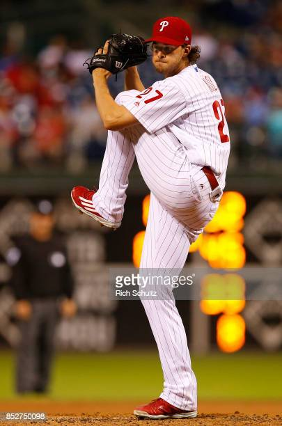 Aaron Nola of the Philadelphia Phillies in action against the Los Angeles Dodgers during a game at Citizens Bank Park on September 19 2017 in...