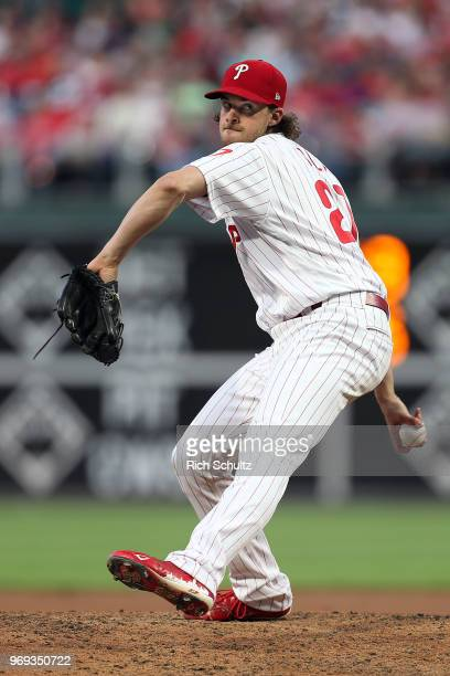Aaron Nola of the Philadelphia Phillies in action against the San Francisco Giants during a game at Citizens Bank Park on May 8 2018 in Philadelphia...