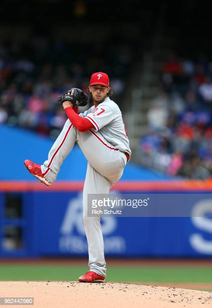 Aaron Nola of the Philadelphia Phillies in action during a game against the New York Mets at Citi Field on April 4 2018 in the Flushing neighborhood...