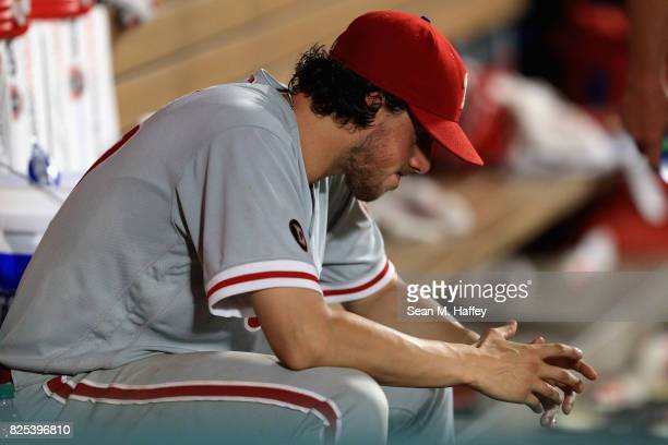 Aaron Nola of the Philadelphia Phillies looks on from the dugout during the seventh inning of a game against the Philadelphia Phillies at Angel...