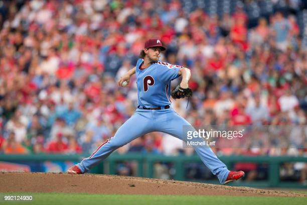 Aaron Nola of the Philadelphia Phillies pitches against the Washington Nationals at Citizens Bank Park on June 28 2018 in Philadelphia Pennsylvania