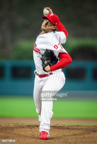 Aaron Nola of the Philadelphia Phillies pitches against the Atlanta Braves during the first inning at Citizens Bank Park on April 27 2018 in...