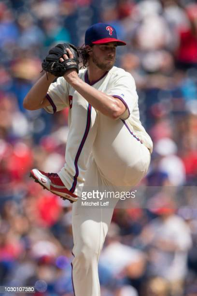 Aaron Nola of the Philadelphia Phillies pitches against the Chicago Cubs at Citizens Bank Park on September 2 2018 in Philadelphia Pennsylvania