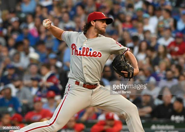 Aaron Nola of the Philadelphia Phillies pitches against the Chicago Cubs during the first inning on June 6 2018 at Wrigley Field in Chicago Illinois