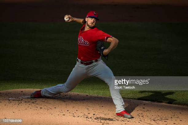 Aaron Nola of the Philadelphia Phillies pitches against the Washington Nationals during the first inning at Nationals Park on July 18, 2020 in...