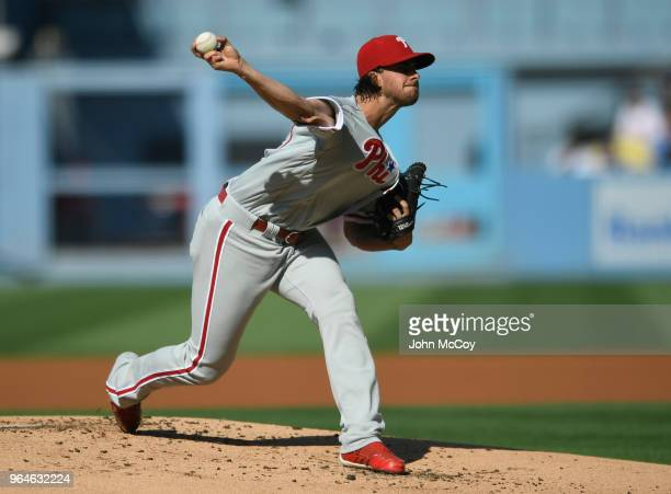 Aaron Nola of the Philadelphia Phillies pitches against the Los Angeles Dodgers in the first inning at Dodger Stadium on May 31 2018 in Los Angeles...