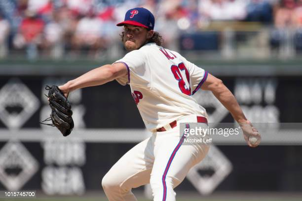 Aaron Nola of the Philadelphia Phillies pitches against the Miami Marlins at Citizens Bank Park on August 5 2018 in Philadelphia Pennsylvania