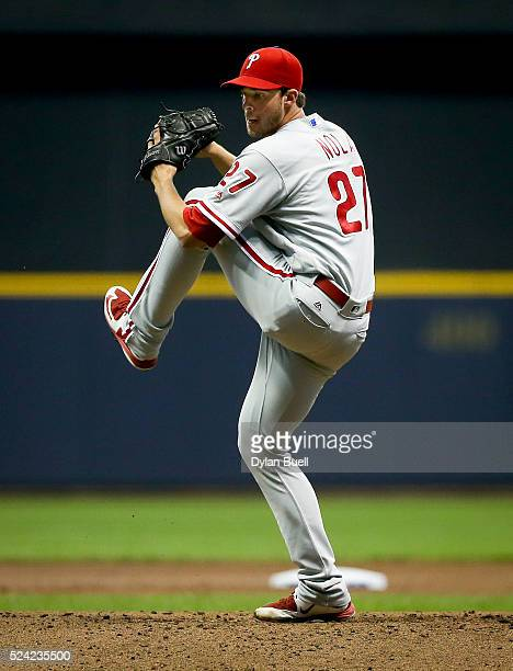 Aaron Nola of the Philadelphia Phillies pitches against the Milwaukee Brewers at Miller Park on April 22 2016 in Milwaukee Wisconsin