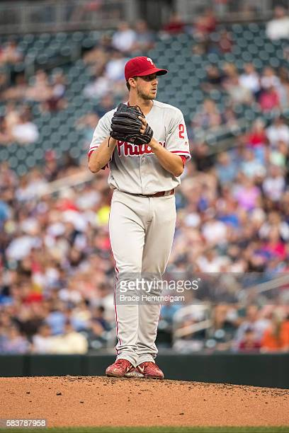 Aaron Nola of the Philadelphia Phillies pitches against the Minnesota Twins on June 21 2016 at Target Field in Minneapolis Minnesota The Twins...