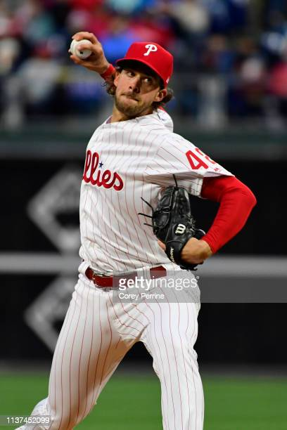 Aaron Nola of the Philadelphia Phillies pitches against the New York Mets during the first inning at Citizens Bank Park on April 15, 2019 in...