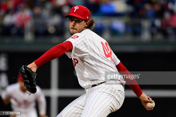 Aaron Nola of the Philadelphia Phillies pitches against the New York Mets during the first inning against the New York Mets at Citizens Bank Park on...