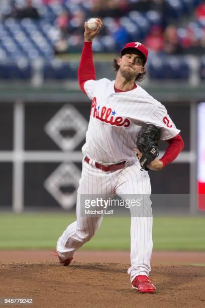 Aaron Nola of the Philadelphia Phillies pitches against the Cincinnati Reds at Citizens Bank Park on April 10 2018 in Philadelphia Pennsylvania Aaron...