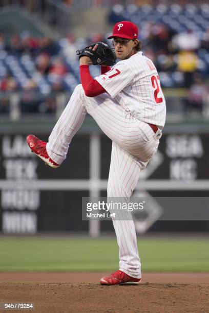 Aaron Nola of the Philadelphia Phillies pitches against the Cincinnati Reds at Citizens Bank Park on April 10 2018 in Philadelphia Pennsylvania Aaron...