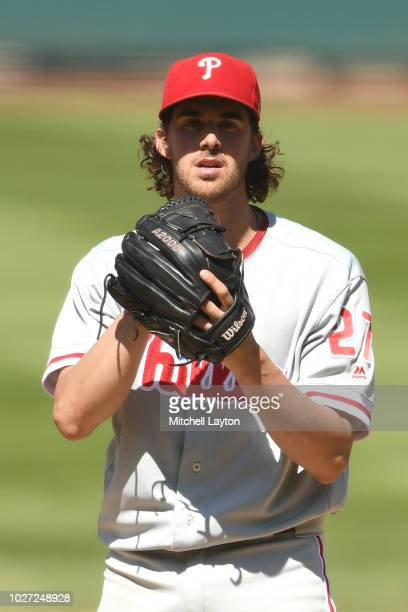 Aaron Nola of the Philadelphia Phillies pitches during a baseball game against the Washington Nationals at Nationals Park on August 23 2018 in...