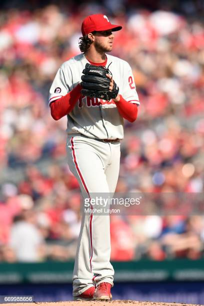 Aaron Nola of the Philadelphia Phillies pitches during a baseball game against the Washington Nationals at Nationals Park on April 14 2017 in...
