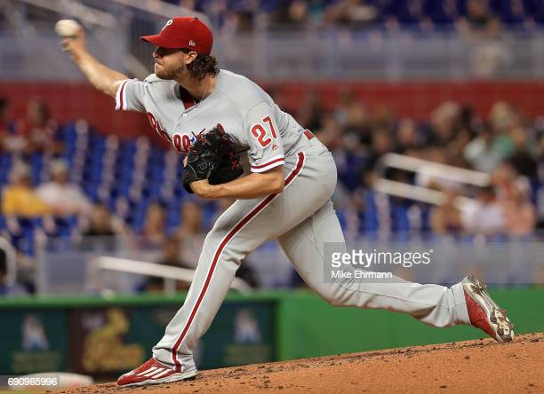 Aaron Nola of the Philadelphia Phillies pitches during a game against the Miami Marlins at Marlins Park on May 31 2017 in Miami Florida