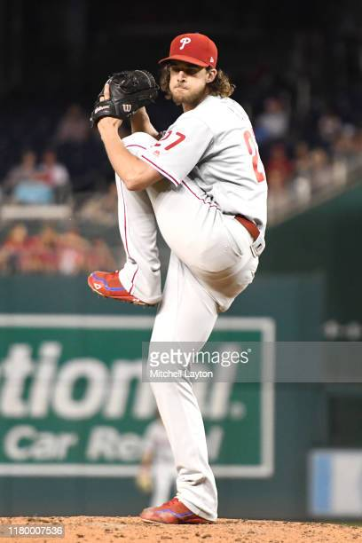 Aaron Nola of the Philadelphia Phillies pitches during game two of a doubleheader baseball game against the Washington Nationals at Nationals Park on...