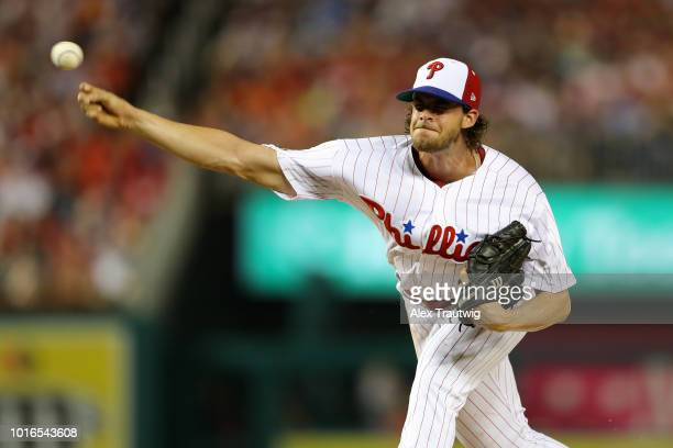 Aaron Nola of the Philadelphia Phillies pitches during the 89th MLB AllStar Game at Nationals Park on Tuesday July 17 2018 in Washington DC