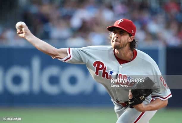 Aaron Nola of the Philadelphia Phillies pitches during the first inning of a baseball game against the San Diego Padres at PETCO Park on August 11...