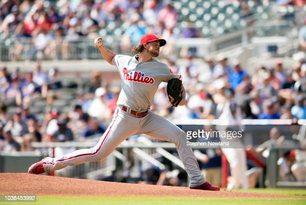Aaron Nola of the Philadelphia Phillies pitches during the first inning against the Atlanta Braves at SunTrust Park on September 23 2018 in Atlanta...