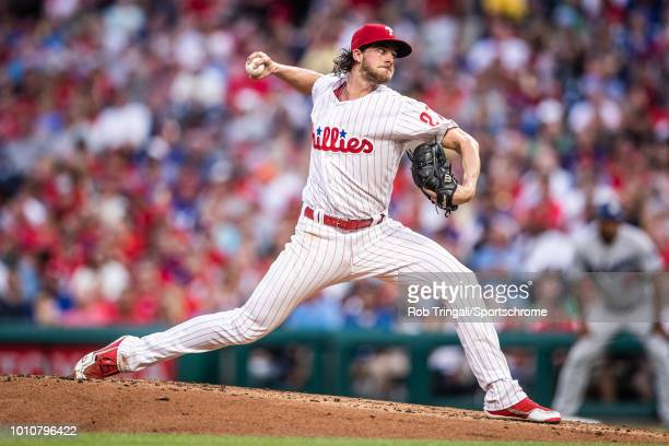 Aaron Nola of the Philadelphia Phillies pitches during the game against the Los Angeles Dodgers at Citizens Bank Park on Tuesday July 24 2018 in...