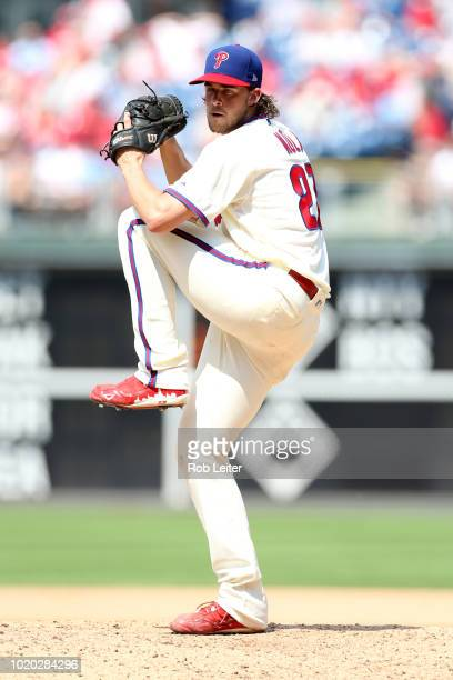 Aaron Nola of the Philadelphia Phillies pitches during the game against the Miami Marlins at Citizens Bank Park on August 5 2018 in Philadelphia...