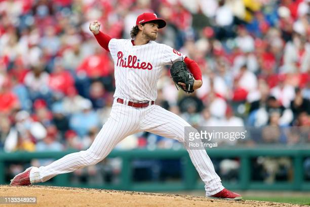 Aaron Nola of the Philadelphia Phillies pitches during the game between the Atlanta Braves and the Philadelphia Phillies at Citizens Bank Park on...